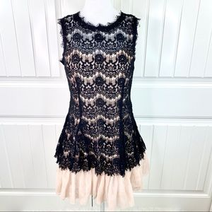 Betsy & Adam Black Lace Over Mesh Cocktail Dress